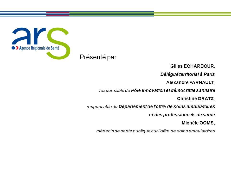 Présenté par Gilles ECHARDOUR, Délégué territorial à Paris Alexandre FARNAULT, responsable du Pôle Innovation et démocratie sanitaire Christine GRATZ,