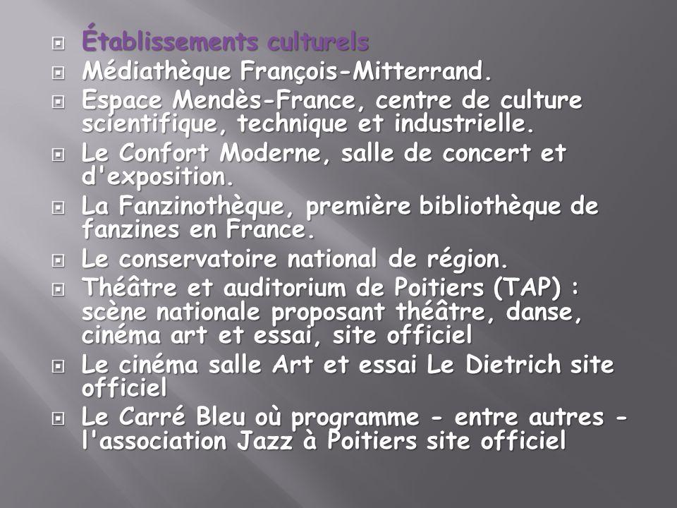 Établissements culturels Établissements culturels Médiathèque François-Mitterrand. Médiathèque François-Mitterrand. Espace Mendès-France, centre de cu