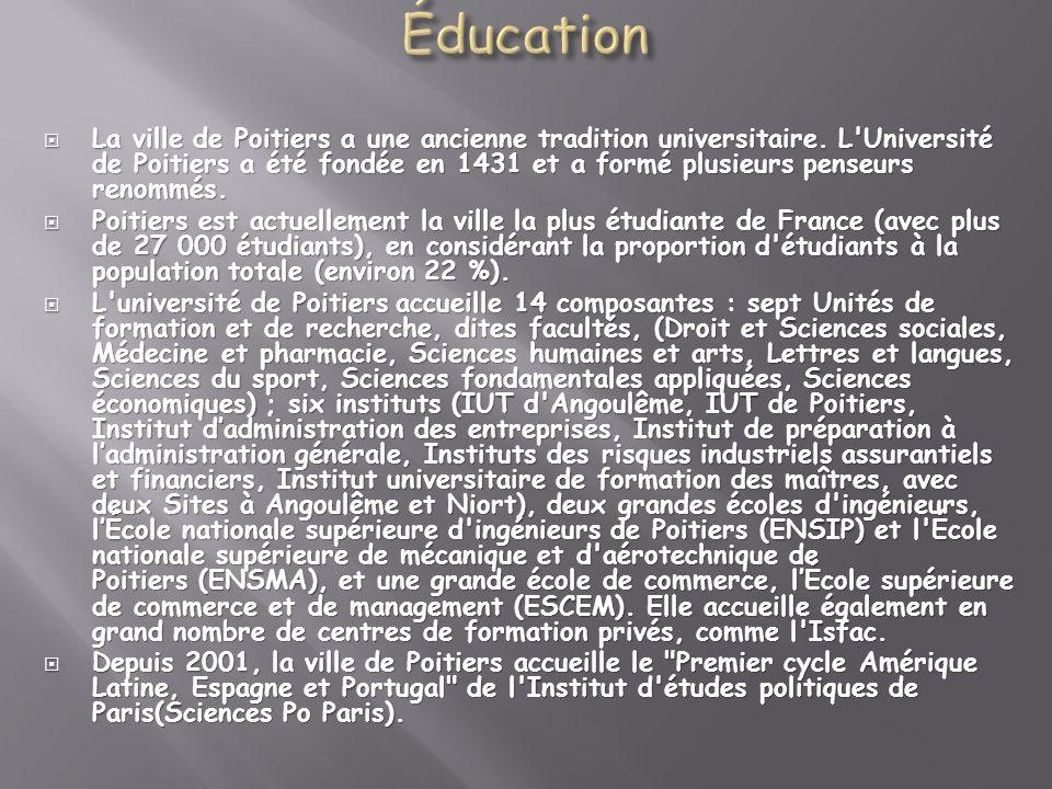La ville de Poitiers a une ancienne tradition universitaire. L'Université de Poitiers a été fondée en 1431 et a formé plusieurs penseurs renommés. La