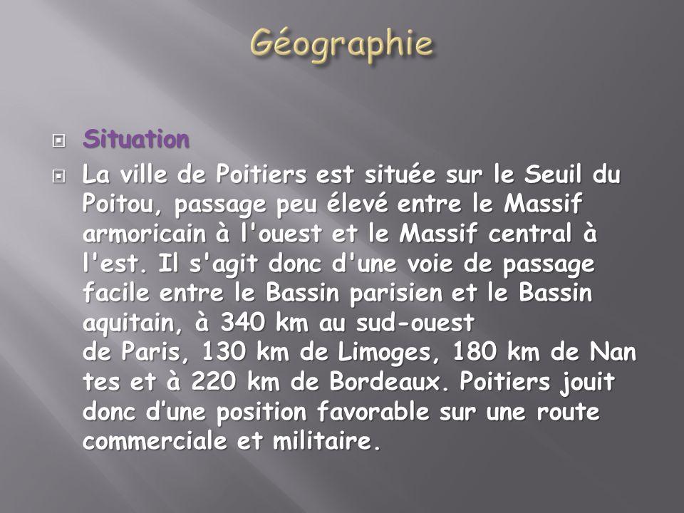 Situation Situation La ville de Poitiers est située sur le Seuil du Poitou, passage peu élevé entre le Massif armoricain à l'ouest et le Massif centra