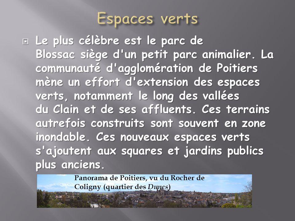 Le plus célèbre est le parc de Blossac siège d'un petit parc animalier. La communauté d'agglomération de Poitiers mène un effort d'extension des espac