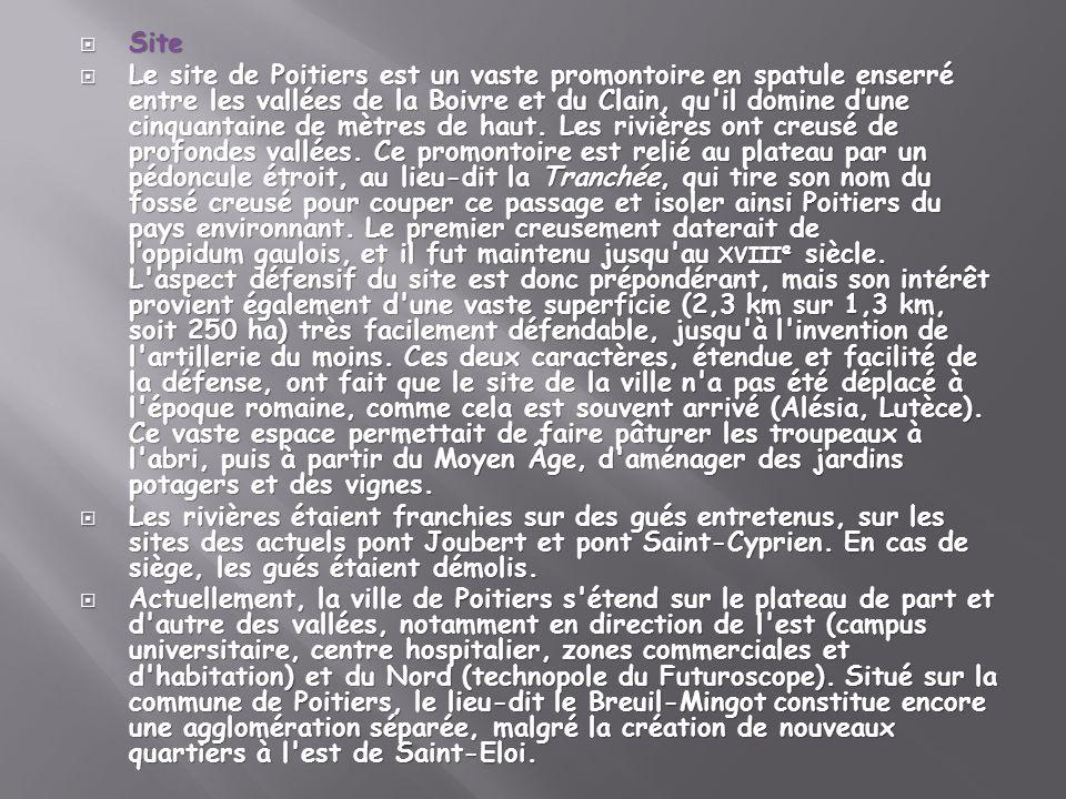 Site Site Le site de Poitiers est un vaste promontoire en spatule enserré entre les vallées de la Boivre et du Clain, qu'il domine dune cinquantaine d
