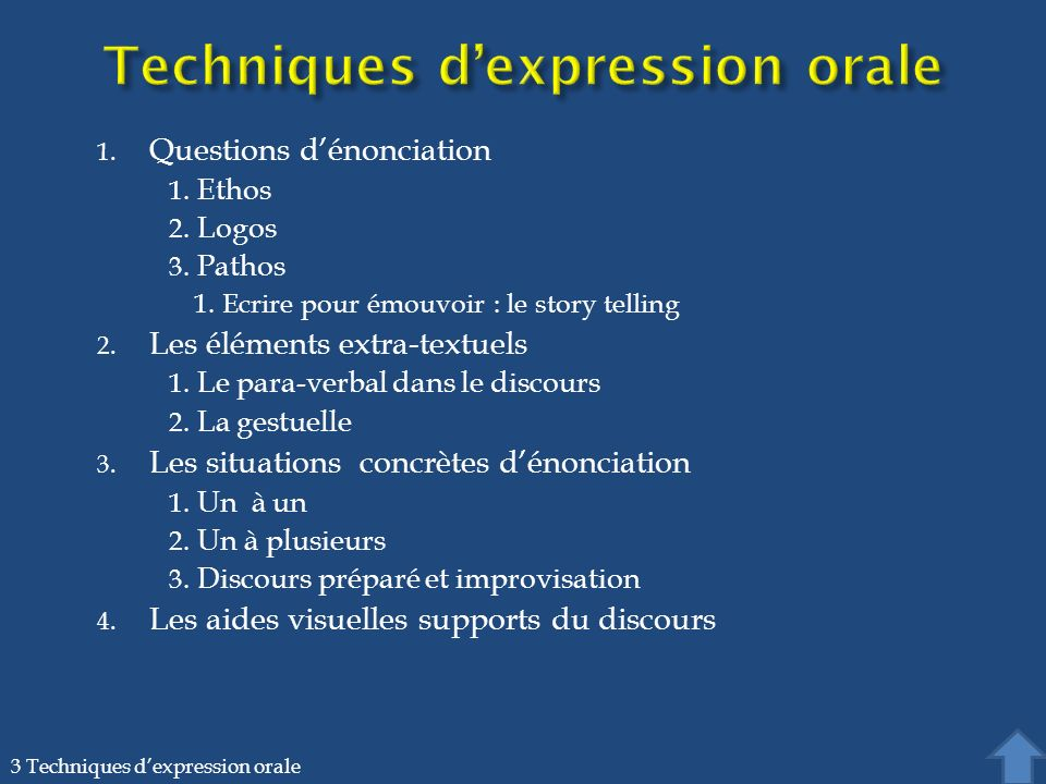 3.1. Techniques dexpression orale / Questions dénonciation Ethos Logos Pathos