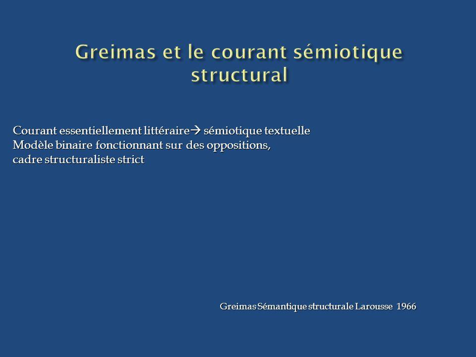 Courant essentiellement littéraire sémiotique textuelle Modèle binaire fonctionnant sur des oppositions, cadre structuraliste strict Greimas Sémantiqu