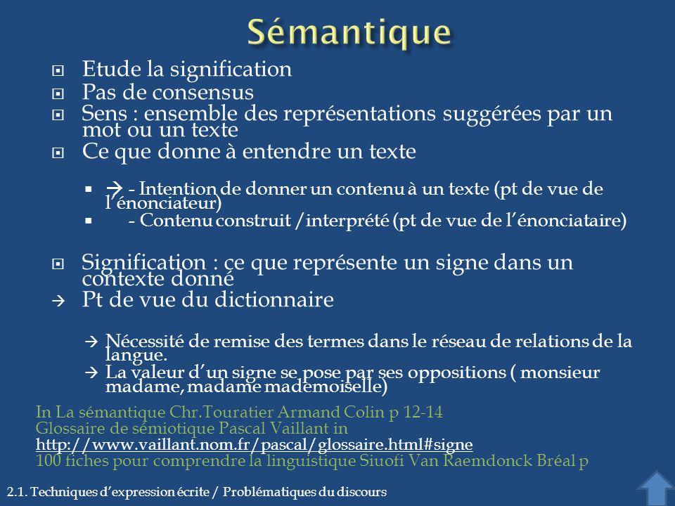 Etude la signification Pas de consensus Sens : ensemble des représentations suggérées par un mot ou un texte Ce que donne à entendre un texte - Intent