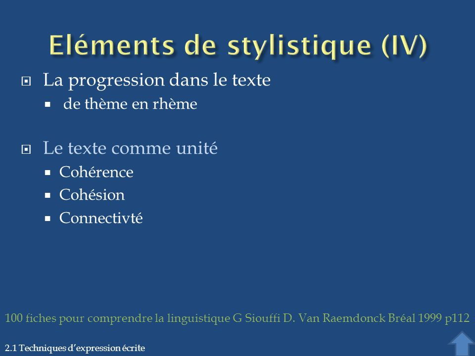 La progression dans le texte de thème en rhème Le texte comme unité Cohérence Cohésion Connectivté 2.1 Techniques dexpression écrite 100 fiches pour c