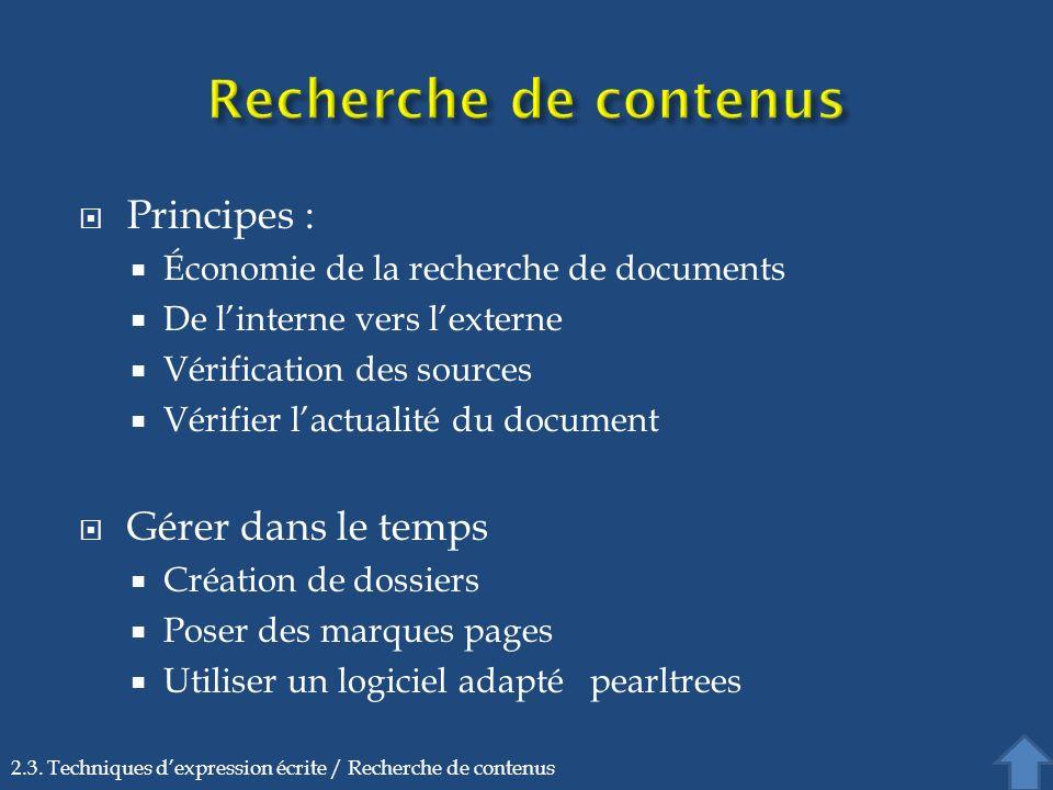 Principes : Économie de la recherche de documents De linterne vers lexterne Vérification des sources Vérifier lactualité du document Gérer dans le tem