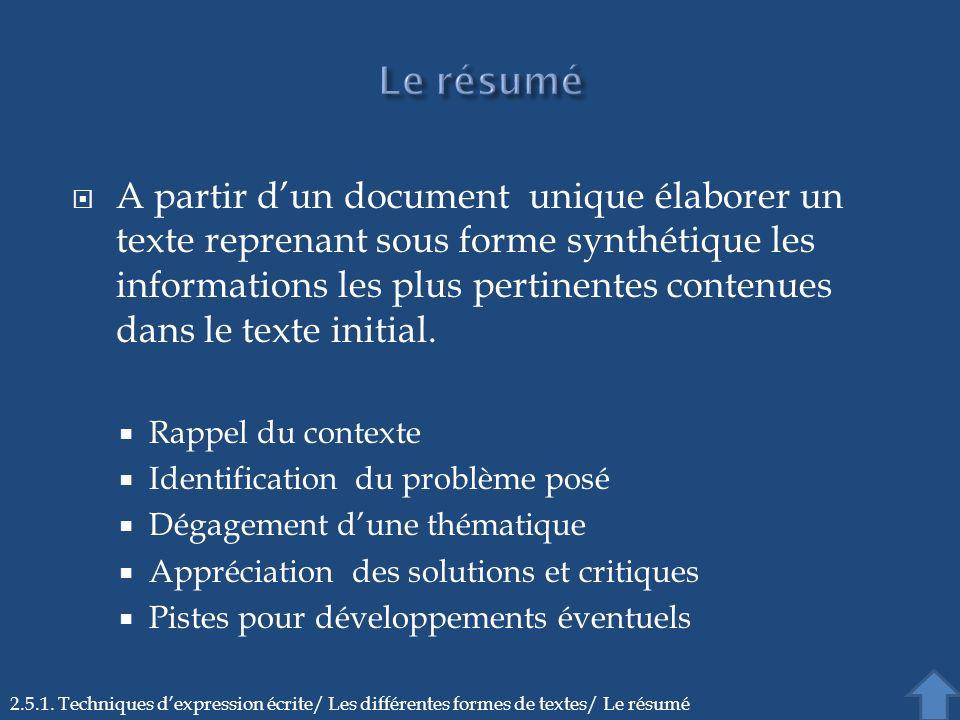 A partir dun document unique élaborer un texte reprenant sous forme synthétique les informations les plus pertinentes contenues dans le texte initial.