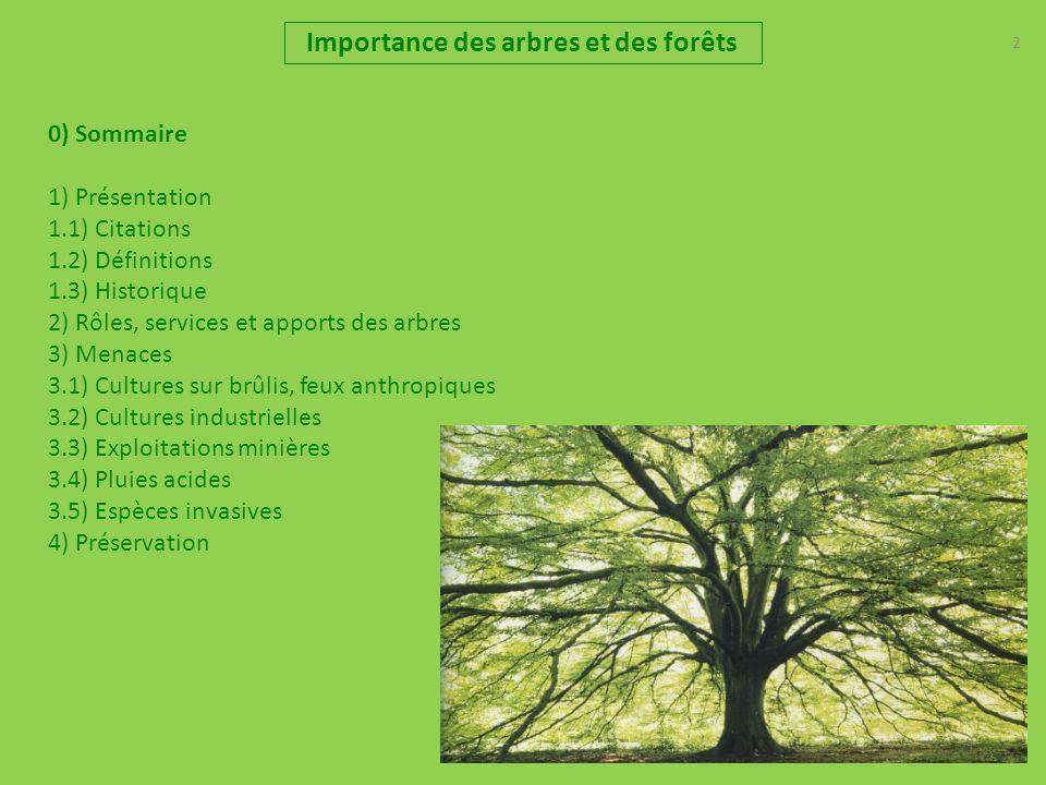 2 Importance des arbres et des forêts 0) Sommaire 1) Présentation 1.1) Citations 1.2) Définitions 1.3) Historique 2) Rôles, services et apports des arbres 3) Menaces 3.1) Cultures sur brûlis, feux anthropiques 3.2) Cultures industrielles 3.3) Exploitations minières 3.4) Pluies acides 3.5) Espèces invasives 4) Préservation