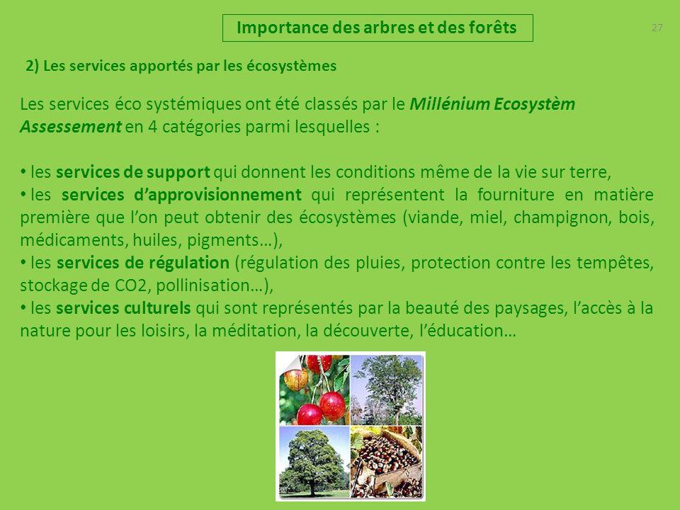 27 2) Les services apportés par les écosystèmes Importance des arbres et des forêts Les services éco systémiques ont été classés par le Millénium Ecos