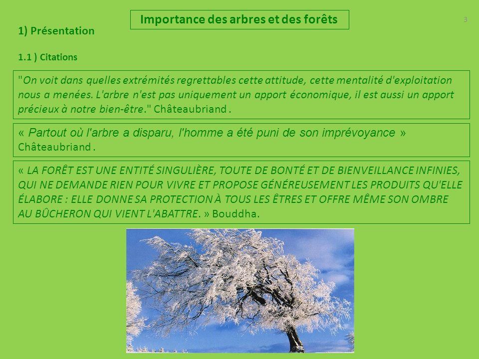 3 Importance des arbres et des forêts 1) Présentation 1.1 ) Citations « LA FORÊT EST UNE ENTITÉ SINGULIÈRE, TOUTE DE BONTÉ ET DE BIENVEILLANCE INFINIES, QUI NE DEMANDE RIEN POUR VIVRE ET PROPOSE GÉNÉREUSEMENT LES PRODUITS QU ELLE ÉLABORE : ELLE DONNE SA PROTECTION À TOUS LES ÊTRES ET OFFRE MÊME SON OMBRE AU BÛCHERON QUI VIENT L ABATTRE.