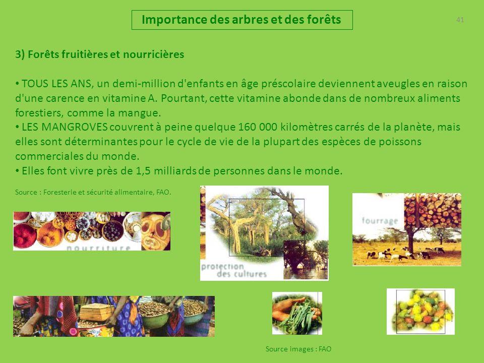 41 Importance des arbres et des forêts 3) Forêts fruitières et nourricières TOUS LES ANS, un demi-million d enfants en âge préscolaire deviennent aveugles en raison d une carence en vitamine A.