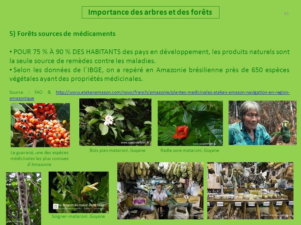 43 Importance des arbres et des forêts 5) Forêts sources de médicaments POUR 75 % À 90 % DES HABITANTS des pays en développement, les produits naturel