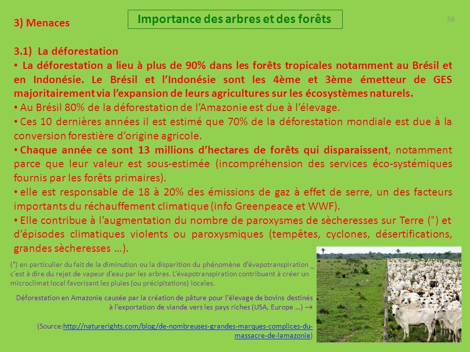 56 3) Menaces 3.1) La déforestation La déforestation a lieu à plus de 90% dans les forêts tropicales notamment au Brésil et en Indonésie. Le Brésil et