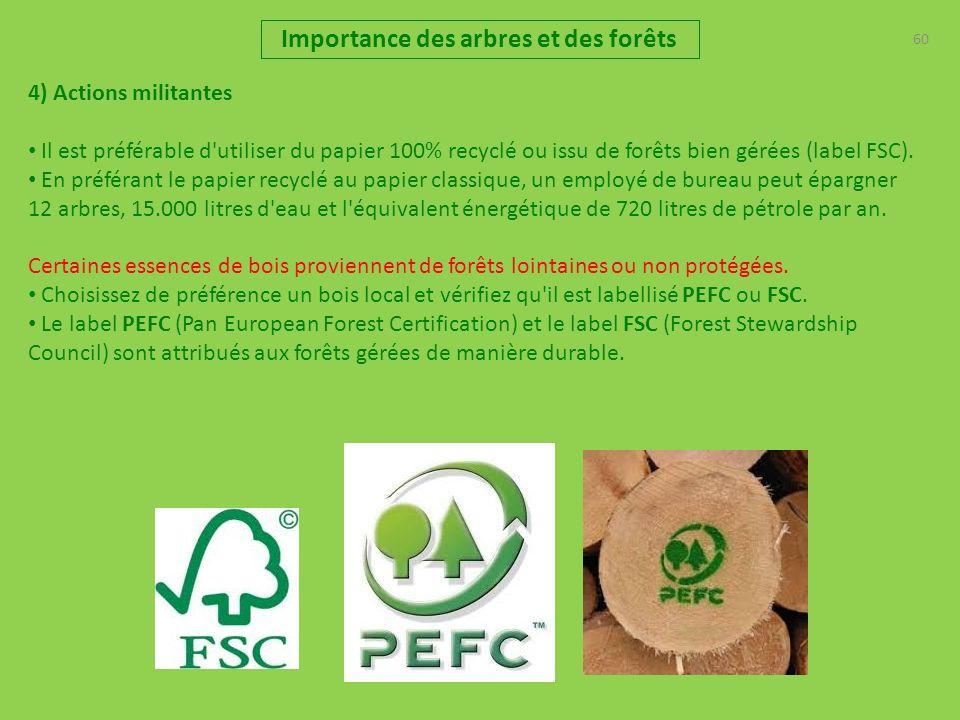 60 Importance des arbres et des forêts 4) Actions militantes Il est préférable d'utiliser du papier 100% recyclé ou issu de forêts bien gérées (label