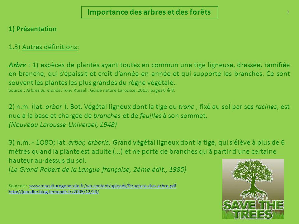 7 Importance des arbres et des forêts 1) Présentation 1.3) Autres définitions : Arbre : 1) espèces de plantes ayant toutes en commun une tige ligneuse