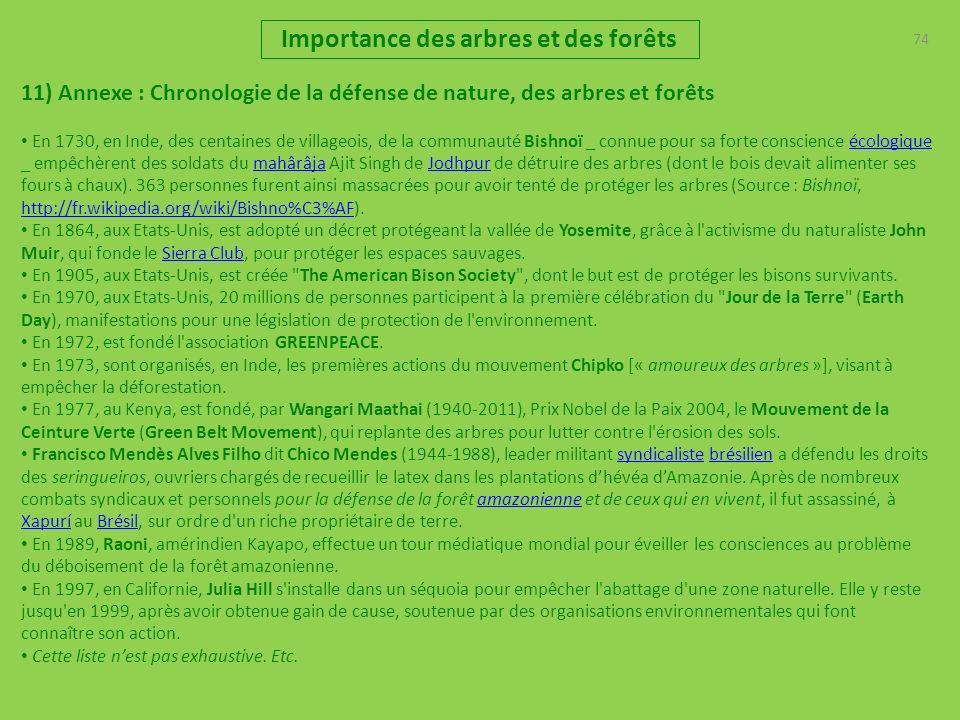 74 Importance des arbres et des forêts 11) Annexe : Chronologie de la défense de nature, des arbres et forêts En 1730, en Inde, des centaines de villa