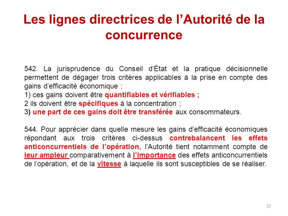 Les lignes directrices de lAutorité de la concurrence 542. La jurisprudence du Conseil dÉtat et la pratique décisionnelle permettent de dégager trois