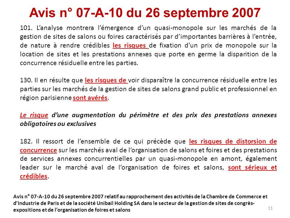 Avis n° 07-A-10 du 26 septembre 2007 101. Lanalyse montrera lémergence dun quasi-monopole sur les marchés de la gestion de sites de salons ou foires c