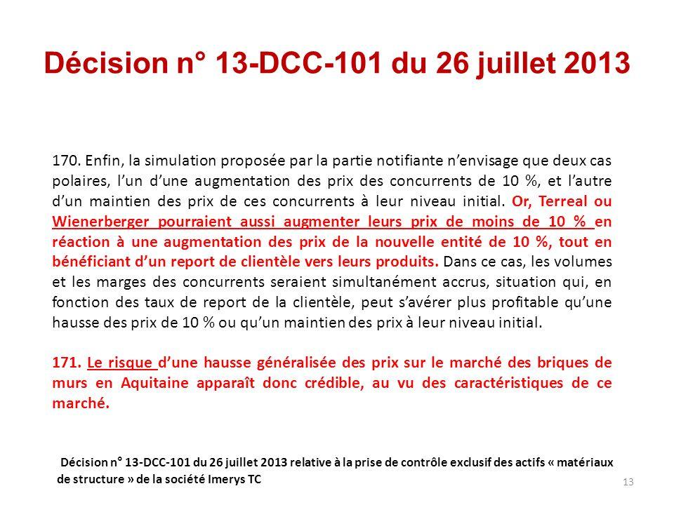 Décision n° 13-DCC-101 du 26 juillet 2013 170.