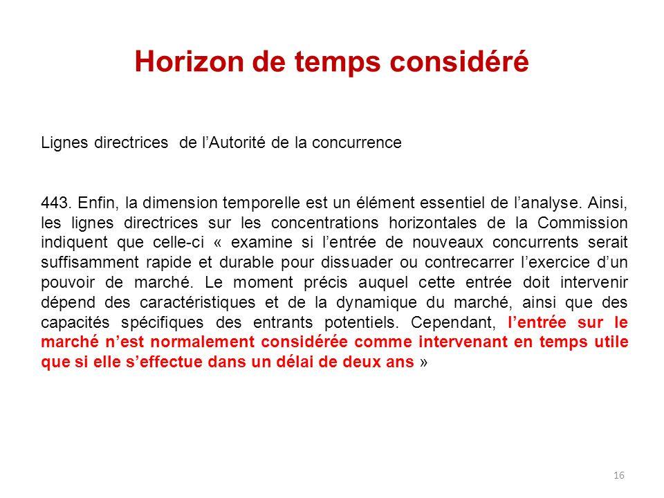 Horizon de temps considéré Lignes directrices de lAutorité de la concurrence 443. Enfin, la dimension temporelle est un élément essentiel de lanalyse.