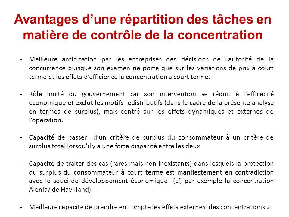 Avantages dune répartition des tâches en matière de contrôle de la concentration -Meilleure anticipation par les entreprises des décisions de lautorit