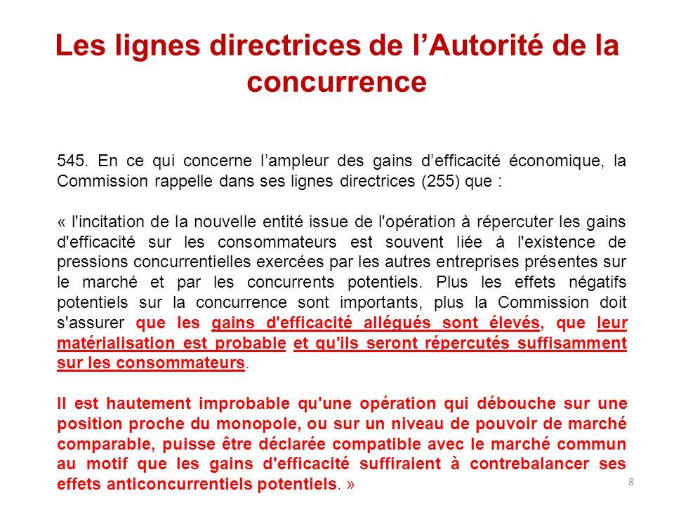 Les lignes directrices de lAutorité de la concurrence 545. En ce qui concerne lampleur des gains defficacité économique, la Commission rappelle dans s