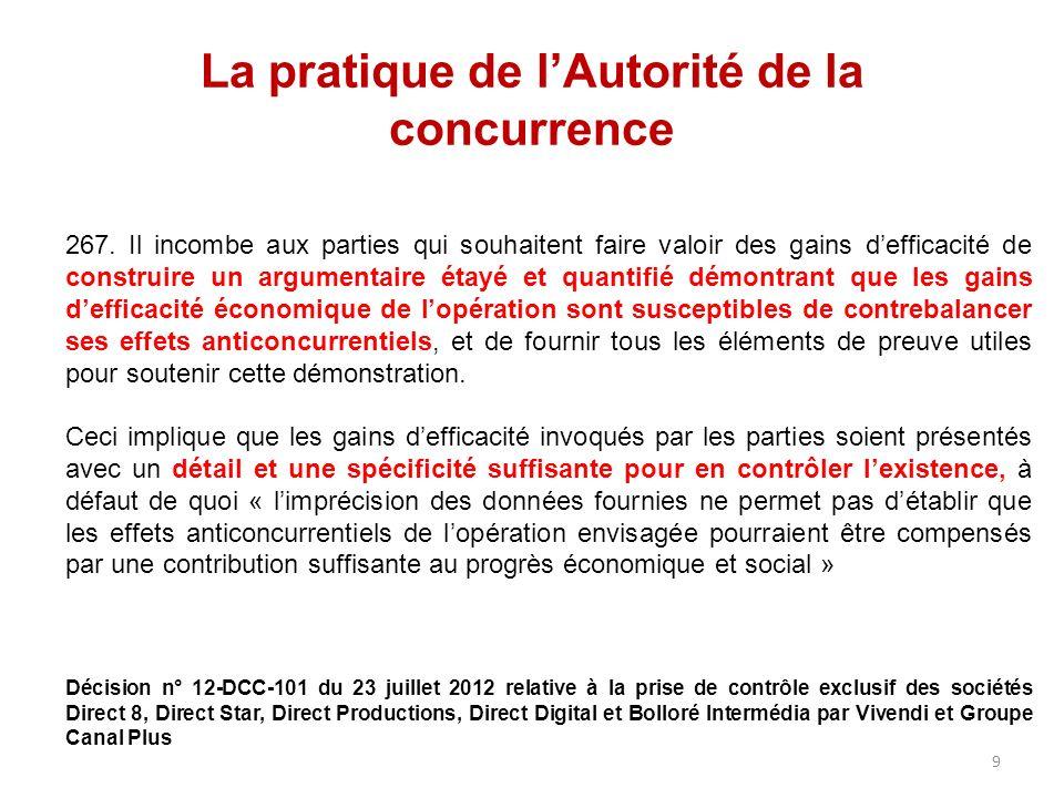 La pratique de lAutorité de la concurrence 267.