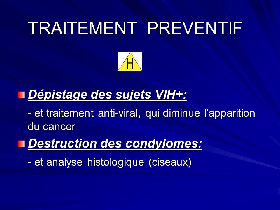 TRAITEMENT PREVENTIF TRAITEMENT PREVENTIF Dépistage des sujets VIH+: - et traitement anti-viral, qui diminue lapparition du cancer Destruction des condylomes: - et analyse histologique (ciseaux)