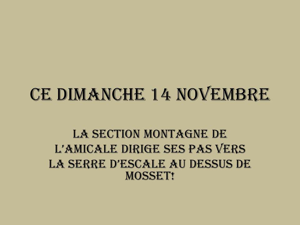 Ce Dimanche 14 novembre La section montagne de lamicale dirige ses pas vers La serre dEscale au dessus de MoSSet!
