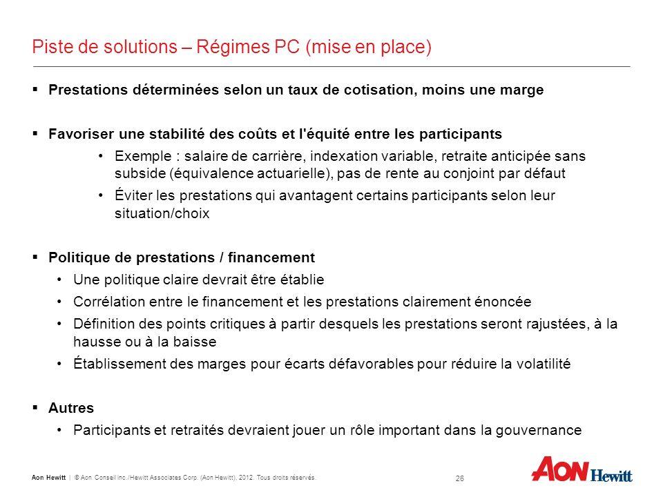26 Aon Hewitt   © Aon Conseil inc./Hewitt Associates Corp. (Aon Hewitt), 2012. Tous droits réservés. Piste de solutions – Régimes PC (mise en place) P