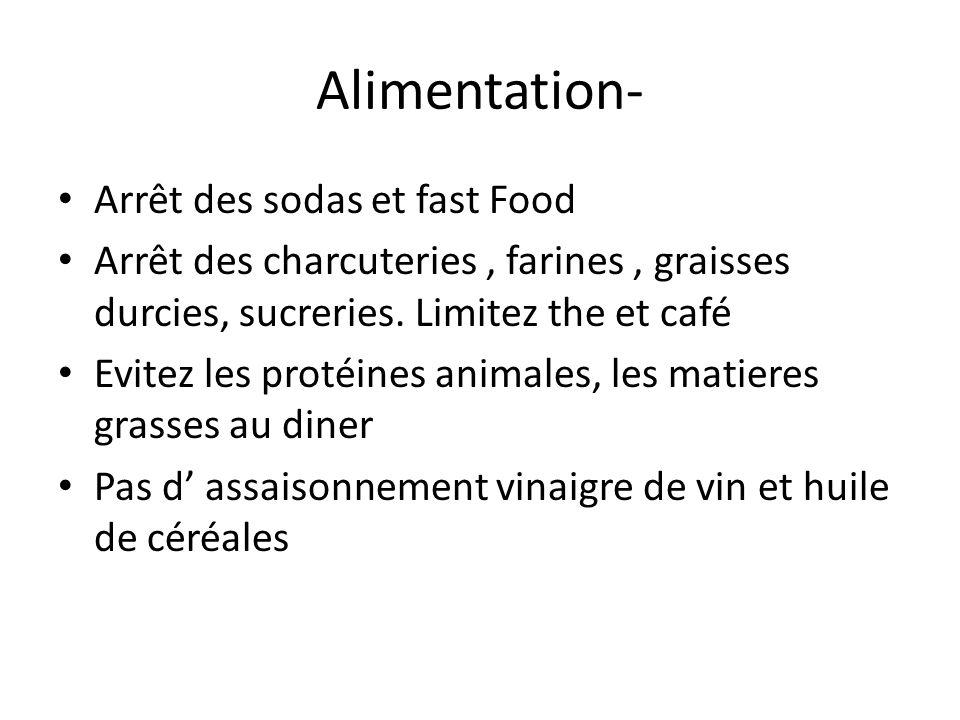Alimentation- Arrêt des sodas et fast Food Arrêt des charcuteries, farines, graisses durcies, sucreries. Limitez the et café Evitez les protéines anim