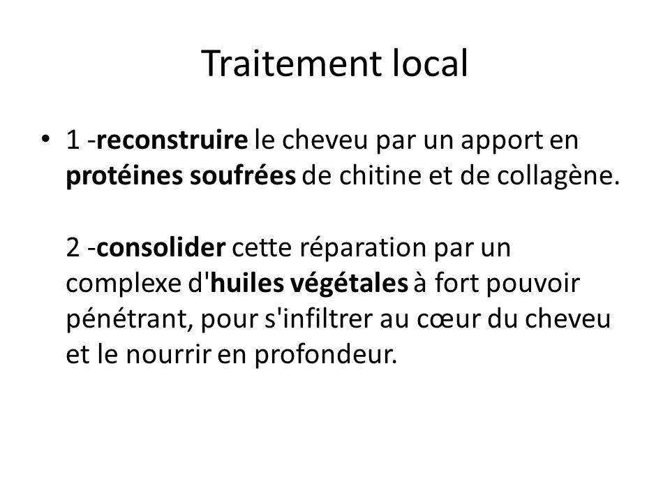 Traitement local 1 -reconstruire le cheveu par un apport en protéines soufrées de chitine et de collagène. 2 -consolider cette réparation par un compl
