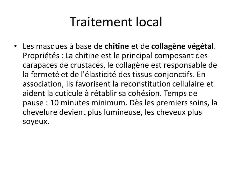 Traitement local Les masques à base de chitine et de collagène végétal. Propriétés : La chitine est le principal composant des carapaces de crustacés,