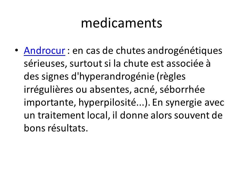 medicaments Androcur : en cas de chutes androgénétiques sérieuses, surtout si la chute est associée à des signes d'hyperandrogénie (règles irrégulière