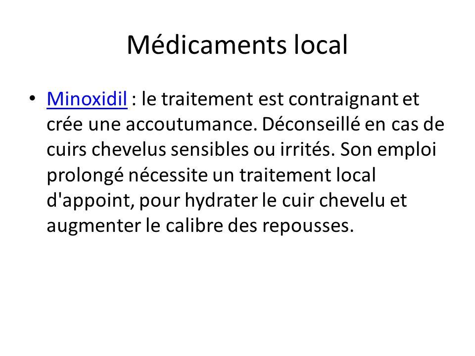 Médicaments local Minoxidil : le traitement est contraignant et crée une accoutumance. Déconseillé en cas de cuirs chevelus sensibles ou irrités. Son