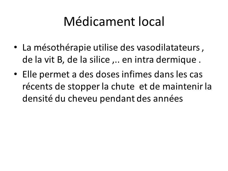 Médicament local La mésothérapie utilise des vasodilatateurs, de la vit B, de la silice,.. en intra dermique. Elle permet a des doses infimes dans les