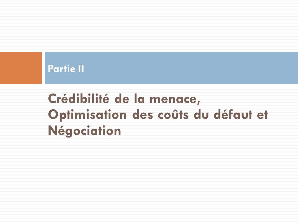 Crédibilité de la menace, Optimisation des coûts du défaut et Négociation Partie II