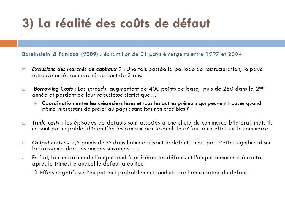 3) La réalité des coûts de défaut Boreinstein & Panizza (2009) : échantillon de 31 pays émergents entre 1997 et 2004 Exclusions des marchés de capitaux .