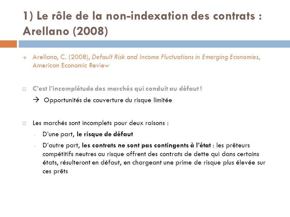 1) Le rôle de la non-indexation des contrats : Arellano (2008) Arellano, C.
