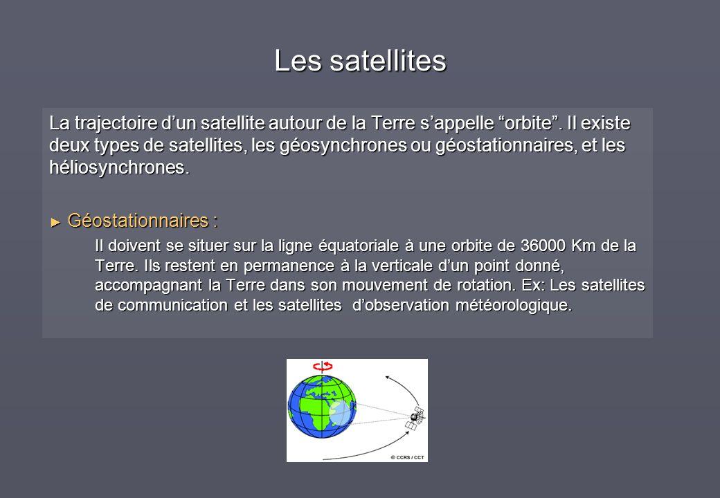 La trajectoire dun satellite autour de la Terre sappelle orbite. Il existe deux types de satellites, les géosynchrones ou géostationnaires, et les hél