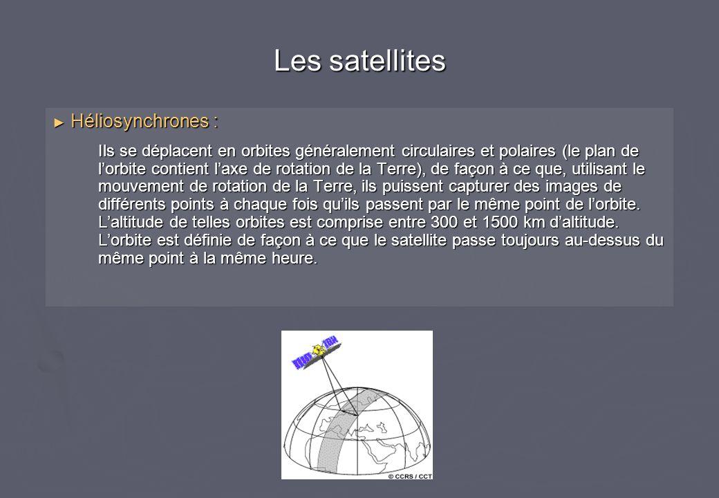 Héliosynchrones : Héliosynchrones : Ils se déplacent en orbites généralement circulaires et polaires (le plan de lorbite contient laxe de rotation de