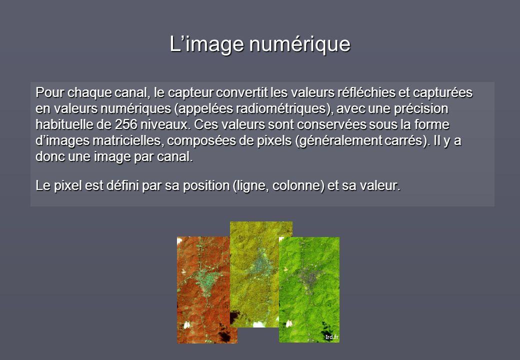 Pour chaque canal, le capteur convertit les valeurs réfléchies et capturées en valeurs numériques (appelées radiométriques), avec une précision habitu