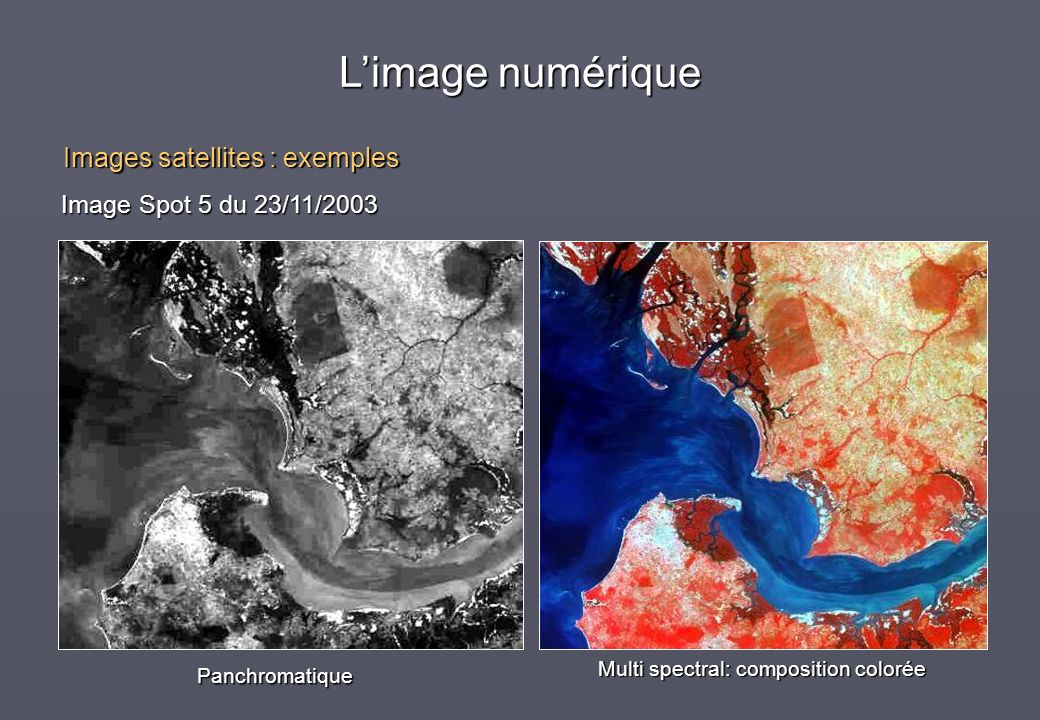 Panchromatique Multi spectral: composition colorée Image Spot 5 du 23/11/2003 Limage numérique Images satellites : exemples