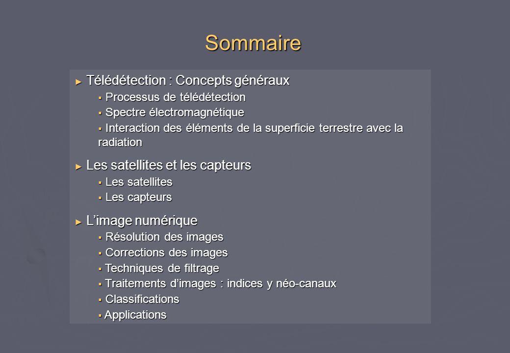 Sommaire Télédétection : Concepts généraux Télédétection : Concepts généraux Processus de télédétection Processus de télédétection Spectre électromagn
