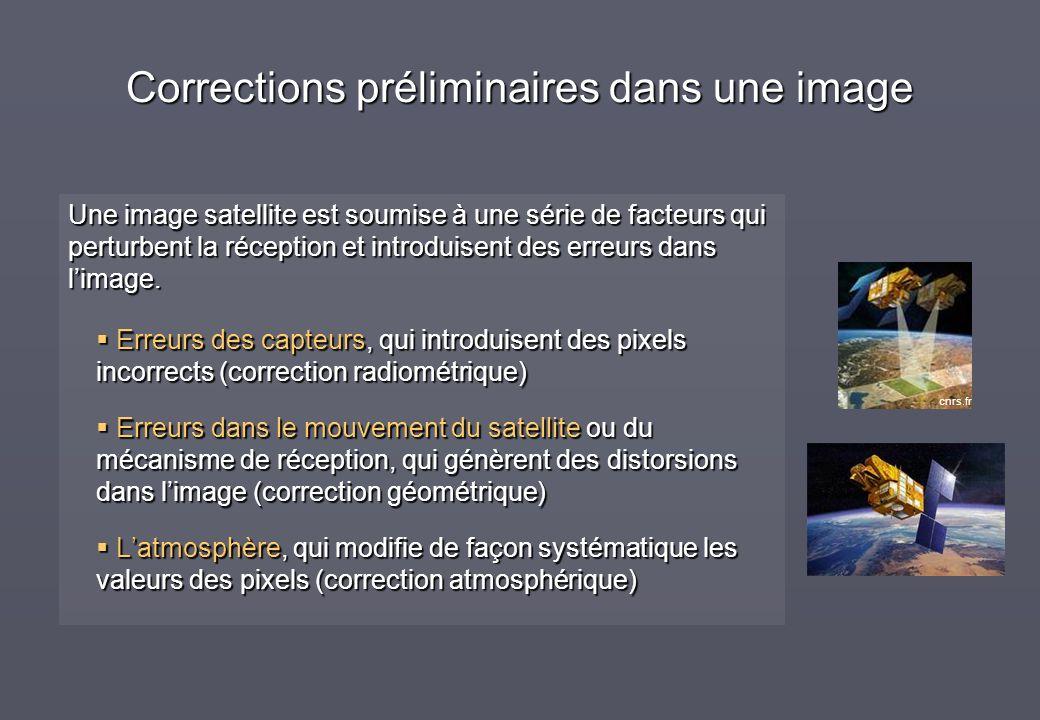 Une image satellite est soumise à une série de facteurs qui perturbent la réception et introduisent des erreurs dans limage. Erreurs des capteurs, qui