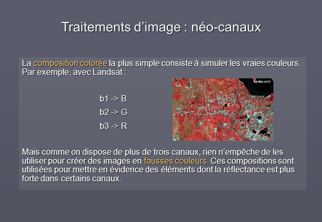La composition colorée la plus simple consiste à simuler les vraies couleurs. Par exemple, avec Landsat : b1 -> B b2 -> G b3 -> R Mais comme on dispos