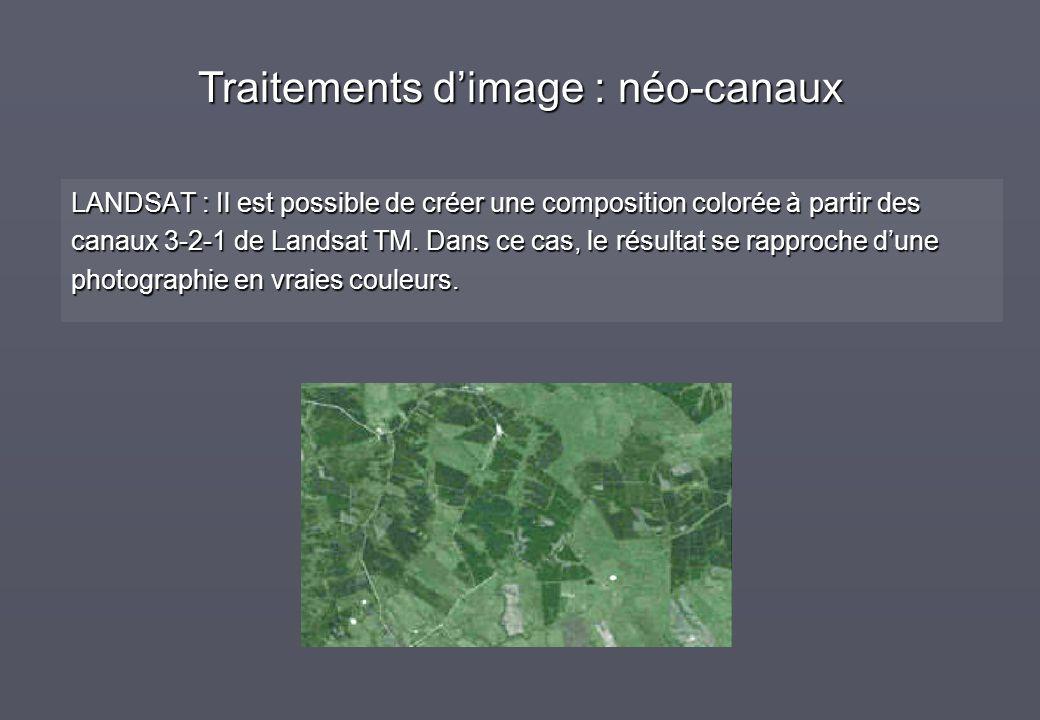 LANDSAT : Il est possible de créer une composition colorée à partir des canaux 3-2-1 de Landsat TM. Dans ce cas, le résultat se rapproche dune photogr