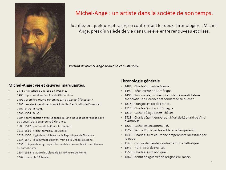Michel-Ange : un artiste dans la société de son temps. Justifiez en quelques phrases, en confrontant les deux chronologies : Michel- Ange, près dun si