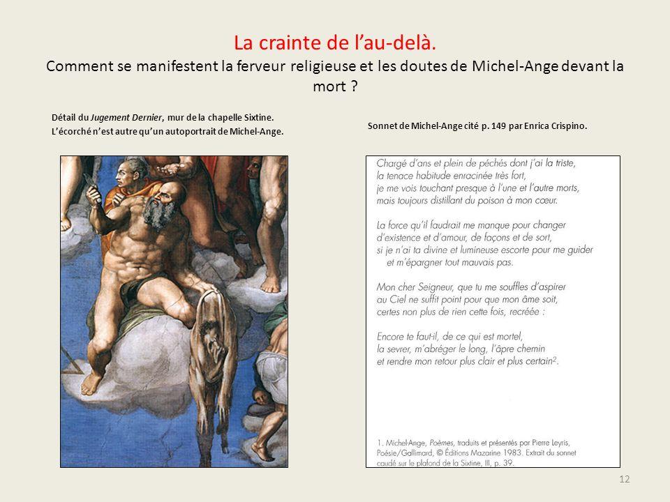 La crainte de lau-delà. Comment se manifestent la ferveur religieuse et les doutes de Michel-Ange devant la mort ? Détail du Jugement Dernier, mur de